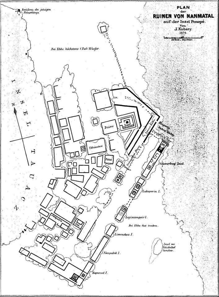 mapa Nan Madol narysowana przez Kubarego